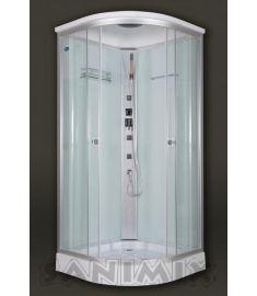 Sanimix íves hidromasszázs zuhanykabin, zuhanytálcával, 90x90x222 cm, tetővel, fehér hátfal 22.1032