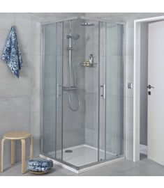 Jika CUBITO szögletes zuhanykabin, 80x80 cm, ezüst profil, átlátszó üveg H2512410026681
