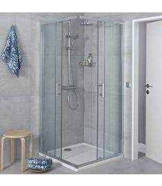 Jika CUBITO szögletes zuhanykabin, 90x90 cm, ezüst profil, átlátszó üveg H2512420026681
