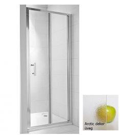 Jika CUBITO két részes zuhanyajtó, 90x195 cm, ezüst profil, arctic dekor üveg H2552420026661