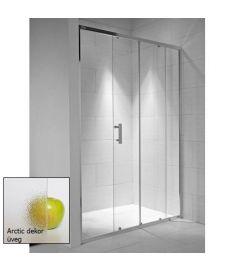Jika CUBITO zuhanyajtó, 140x195 cm, 1 eltolható és 1 fix rész, arctic dekor üveg H2422480026661
