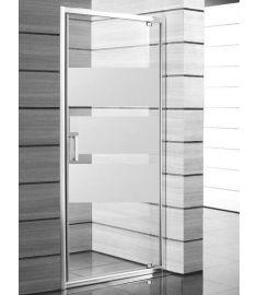 Jika LYRA PLUS egy részes zuhanykabin ajtó, 90 cm, csíkos üveg, fehér fogantyú H2543820006651