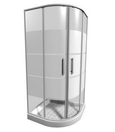 Jika LYRA PLUS íves zuhanykabin, 90x90 cm, csíkos üveg H2533820006651