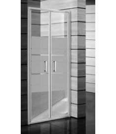 Jika LYRA PLUS Kettős zuhanyajtó, 90 cm, csíkos üveg, fehér fogantyúval H2563820006651