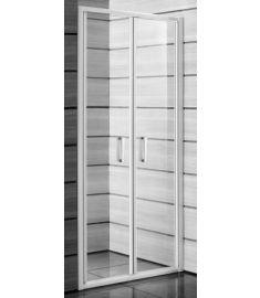 Jika LYRA PLUS Kettős zuhanyajtó, 90 cm, átlátszó üveg fehér fogantyúval H2563820006681