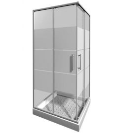 Jika LYRA PLUS szögletes zuhanykabin, 90x90 cm, csíkos üveg H2513820006651