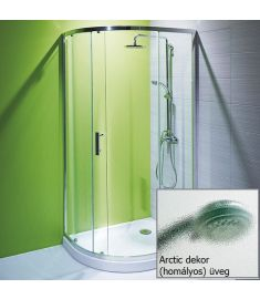 Jika TIGO zuhanykabin, 100x80 cm, fényes króm, arctic dekor üveg H2512110026661