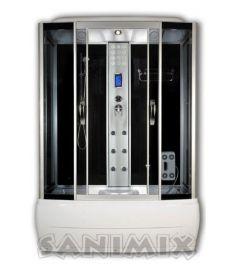 Sanimix kádas hidromasszázs gőzkabin, 170x85x220 cm, fekete 22.8011-170 STEAM