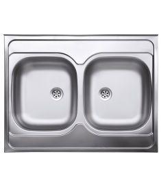 Ferro kétmedencés rozsdamentes mosogató, 60x80 cm, szövetmintás DR60/80DTS.H