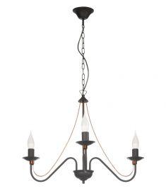 Lampex MONIC csillár, d63cm, E14, 3x60W, fekete/vörösréz, 519/3 CZA