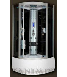 Sanimix magastálcás hidromasszázs zuhanykabin, 100x100x222 cm, elektronikával, fekete 22.56.5.0