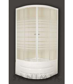 Sanimix magastálcás íves zuhanykabin, 90x90x200 cm, fehér profil 22.44.5
