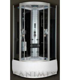 Sanimix mélytálcás hidromasszázs gőzkabin, 100x100x222 cm, kádtöltővel, fekete 22.56.5/3