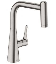 Hansgrohe Metris mosogató csaptelep kihúzható zuhanyfejjel, nemesacél felület 14834800