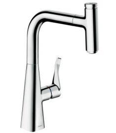 Hansgrohe Metris Select mosogató csaptelep kihúzható zuhanyfejjel, króm 14857000