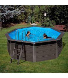 PONTAQUA kerek kompozit medence, 410x124 cm, homokszűrős vízforgatóval FFA 914