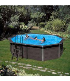 PONTAQUA ovális kompozit medence, 664x386x124 cm, homokszűrős vízforgatóval FFA 916