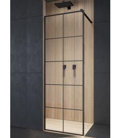 Radaway MODO NEW BLACK Walk-in zuhanyfal, edzett üveg, átlátszó/fekete, 50x200 cm 389054-54-55