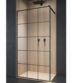 Radaway MODO NEW BLACK Walk-in zuhanyfal, edzett üveg, átlátszó/fekete, 90x200 cm 389094-54-55