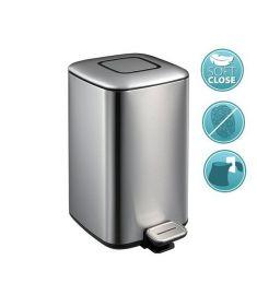 Sapho REGENT szemetes, 6 l, soft close, szálcsiszolt rozsdamentes acél/ezüst, fekete dr501