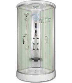 Sanimix íves hidromasszázs zuhanykabin, 90x90x215 cm, elektronikával, fehér 22.8021-1