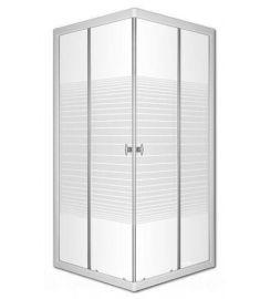 Sanimix szögletes zuhanykabin, 80x80x185 cm, tálca nélkül, csíkos üveggel 22.39.51-80