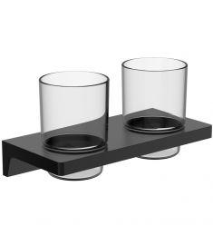 Wellis MAMBA fogmosópohár, fali tartóval, dupla, üveg/fém, matt fekete, WE00113