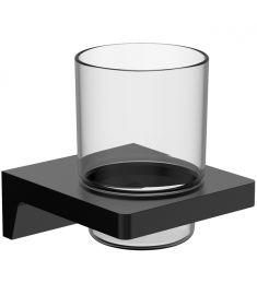 Wellis MAMBA fogmosópohár, fali tartóval, üveg/fém, matt fekete, WE00112