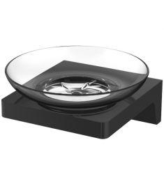 Wellis MAMBA szappantartó, fali, fém/üveg, matt fekete, WE00111