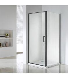 Wellis QUADRUM BLACK zuhanykabin, Easy Clean bevonat, 90x90x190 cm, átlátszó üveg/matt fekete keret